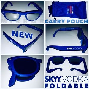 SKYY Vodka Blue Mirror Foldable Sunglasses NWOT